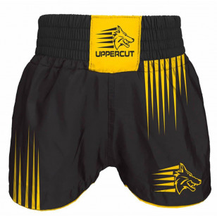 Short Muay Thai Kickboxing Preto Amarelo Uppercut