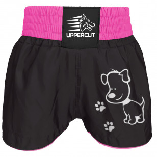 Short Muay Thai Kickboxing Preto rosa Uppercut Preto