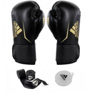 Kit Luva Boxe Muay Thai Adidas Couro